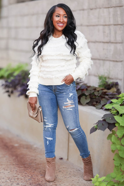 Fringe Benefits Sweater - Ivory womens trendy knit pullover sweater with fringe detail closet candy front