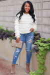 Fringe Benefits Sweater - Ivory womens trendy knit pullover sweater with fringe detail closet candy front 2