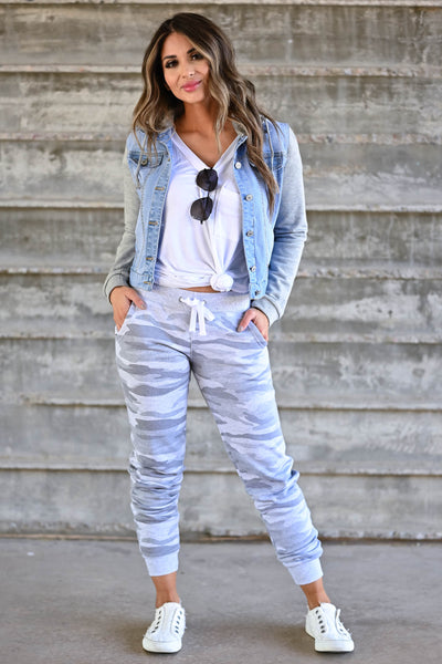 Give It A Rest Camo Joggers - Grey women's jogger sweatpants featuring banded hem, side pockets, and elastic waistband with adjustable drawstring closet candy front
