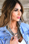 The More The Better Necklace - Grey women's beaded statement necklace with clasp closure closet candy front