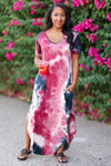 Let Them Hear You Tie Dye Maxi Dress - Berry & Navy womens trendy v neckline side pocket rounded bottom maxi dress closet candy front