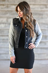 Her Good Side Hooded Denim Jacket - Black trendy womens hooded denim jacket, grey sleeves closet candy front 2