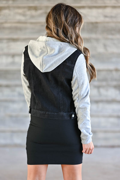 Her Good Side Hooded Denim Jacket - Black trendy womens hooded denim jacket, grey sleeves closet candy back