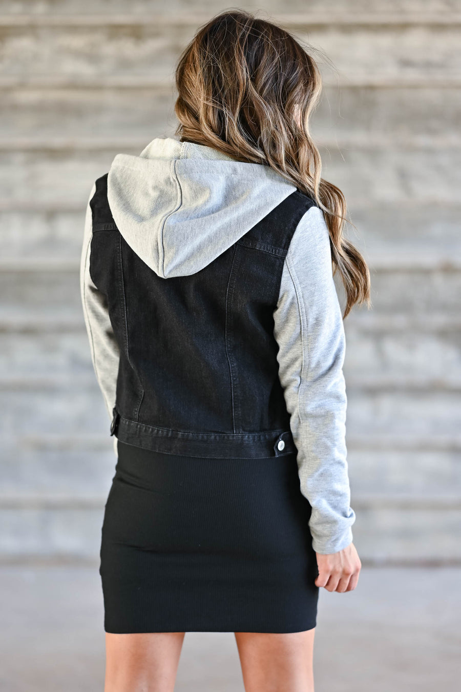 Her Good Side Hooded Denim Jacket - Black trendy womens hooded denim jacket, grey sleeves closet candy front