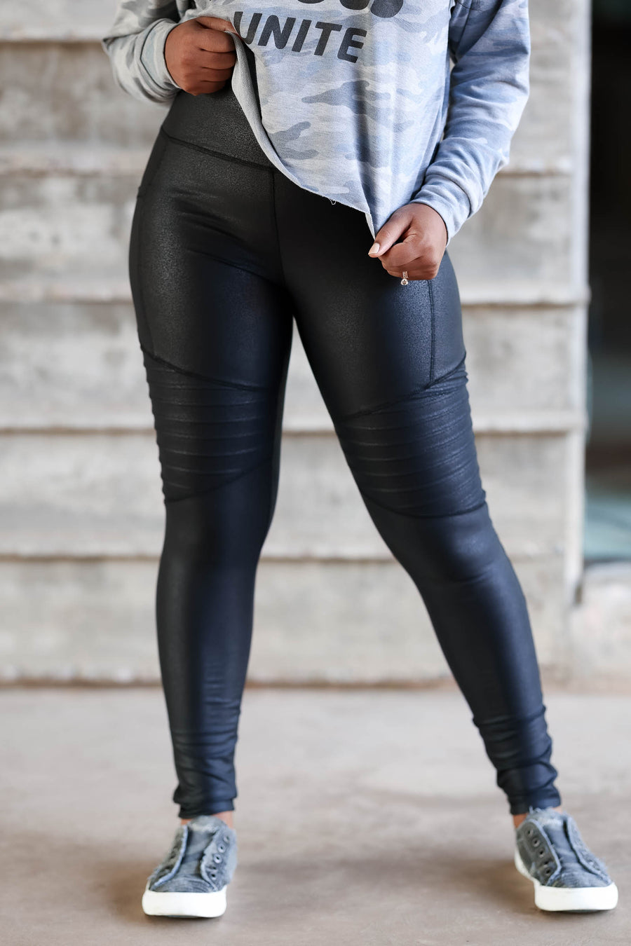 Thanx Me Later Foil Moto Leggings - Black womens trendy leggings with Moto panels and tummy control, closet candy side