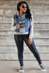 Her Good Side Hooded Denim Jacket - Dark Wash womens trendy hooded sweatshirt denim jacket closet candy front