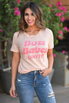 """Boss Babes Unite"" Graphic Tee - Peachy & Pink women's trendy round neck tee closet candy front"