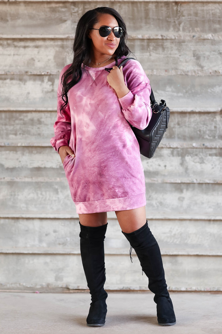 Head In The Clouds Sweatshirt Dress - Magenta women trendy tie dye sweatshirt dress closet candy front