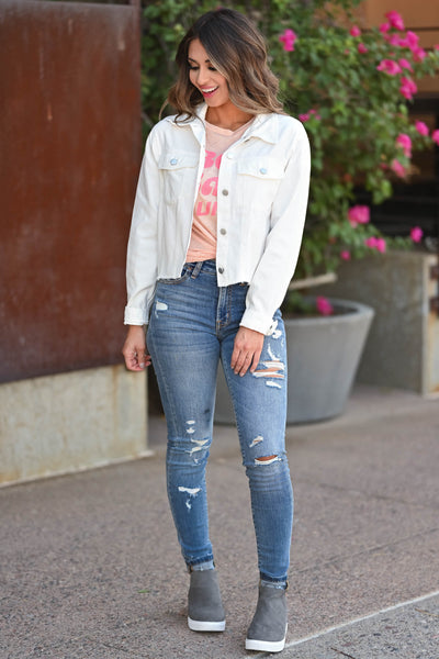 Just Like Before Raw Hem Jacket - White Women's white denim jacket, womens raw hem white denim jacket with pockets closet candy front