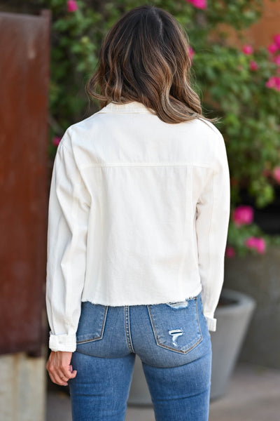 Just Like Before Raw Hem Jacket - White Women's white denim jacket, womens raw hem white denim jacket with pockets closet candy back