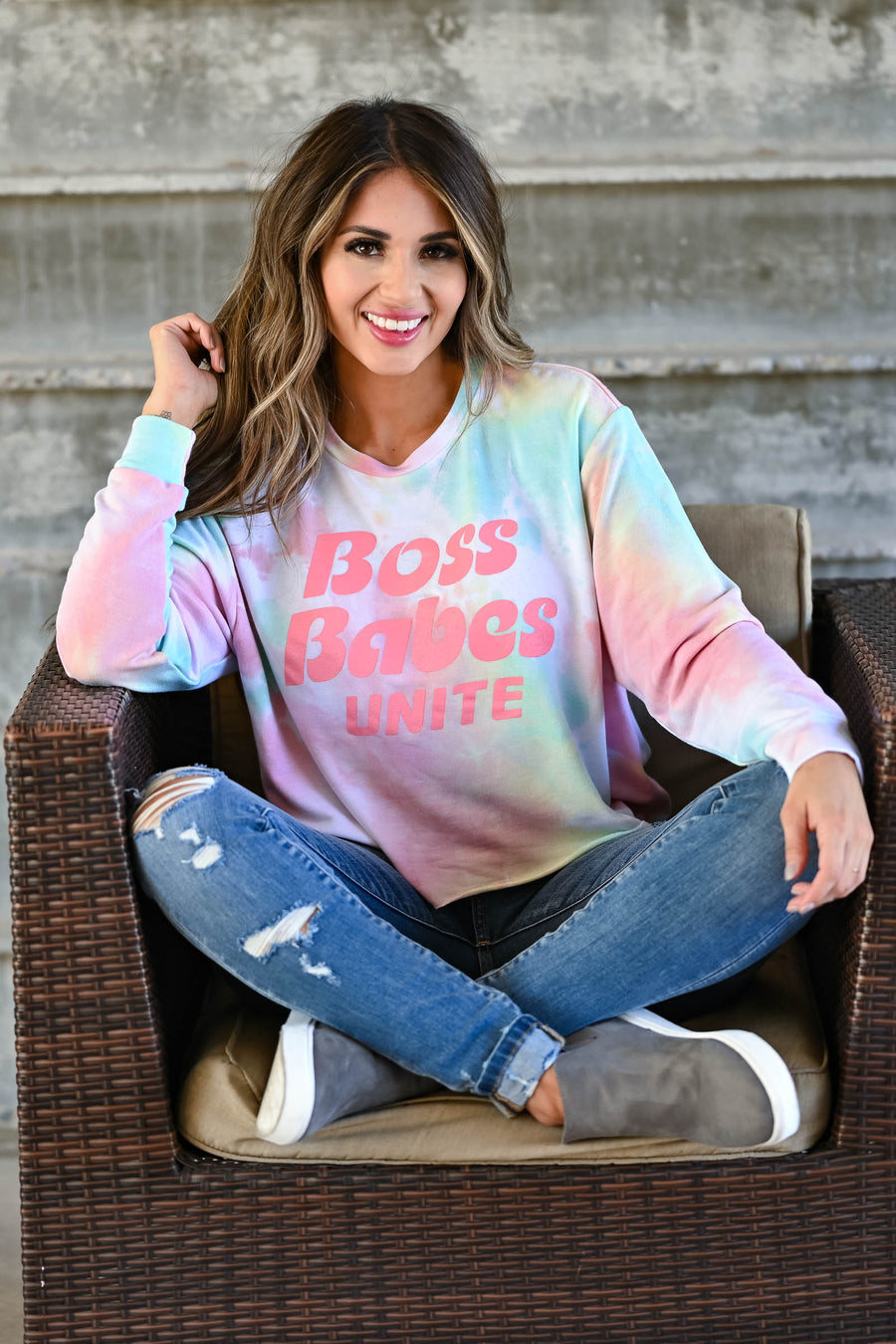 """Boss Babes Unite"" Long Sleeve Tie Dye Top - Peachy women's long sleeve top with banded cuffs, raw hem, and ""Boss Babes Unite"" graphic on front closet candy front"