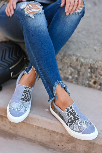 It's A Jungle Out There Slip On Sneakers - Grey Women's canvas slip-on sneakers featuring padded insole and patchwork design with leopard print, snake print, and camo print closet candy front