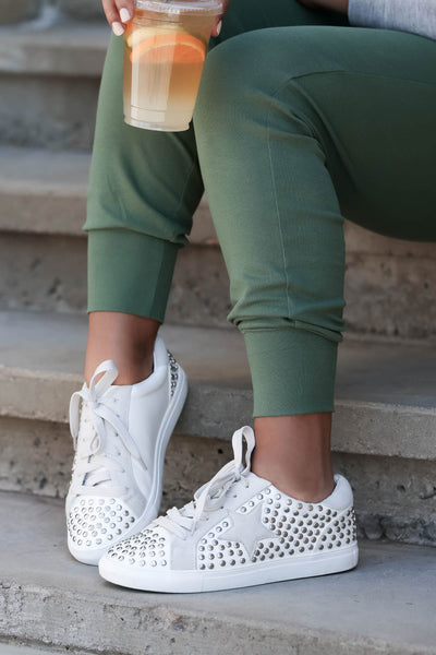 Jump Back In Studded Sneakers - White womens trendy star studded sneakers closet candy side 2