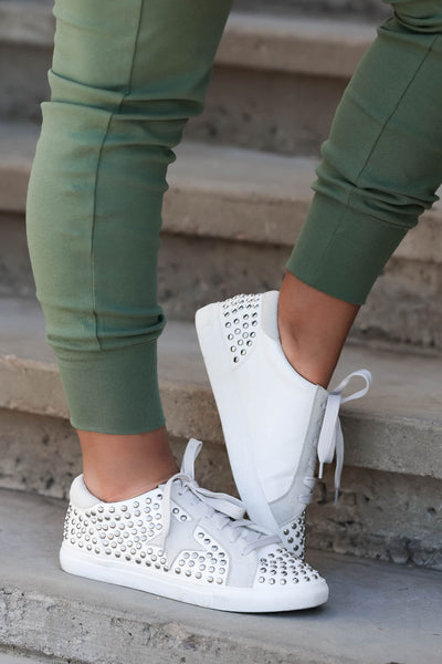 Jump Back In Studded Sneakers - White womens trendy star studded sneakers closet candy side 3