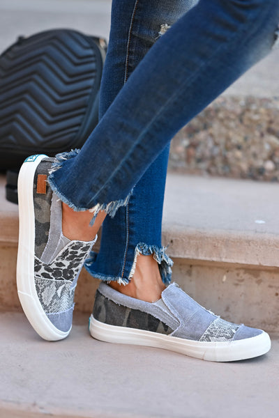 It's A Jungle Out There Slip On Sneakers - Grey Women's canvas slip-on sneakers featuring padded insole and patchwork design with leopard print, snake print, and camo print closet candy side