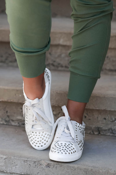 Jump Back In Studded Sneakers - White womens trendy star studded sneakers closet candy front