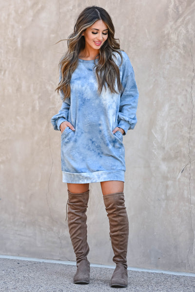 Head In The Clouds Sweatshirt Dress - Blue  women's trendy long sleeve sweatshirt with round neckline closet candy front 3