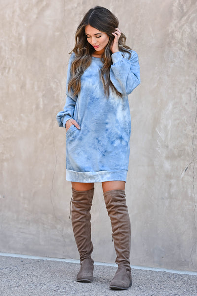 Head In The Clouds Sweatshirt Dress - Blue  women's trendy long sleeve sweatshirt with round neckline closet candy front 5