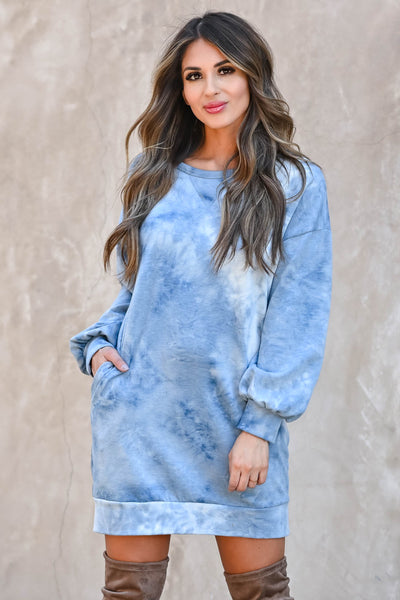 Head In The Clouds Sweatshirt Dress - Blue  women's trendy long sleeve sweatshirt with round neckline closet candy front