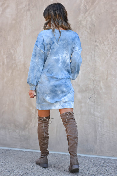 Head In The Clouds Sweatshirt Dress - Blue  women's trendy long sleeve sweatshirt with round neckline closet candy back