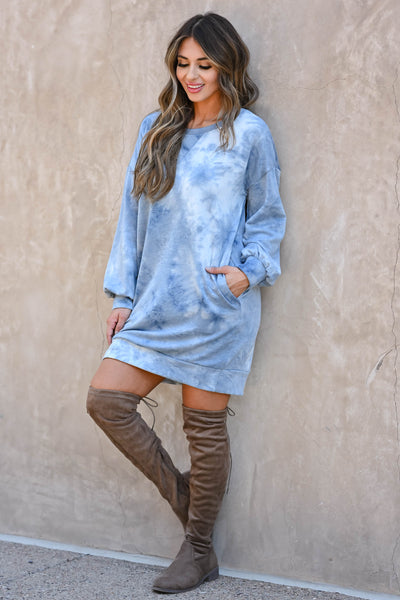 Head In The Clouds Sweatshirt Dress - Blue  women's trendy long sleeve sweatshirt with round neckline closet candy front 4