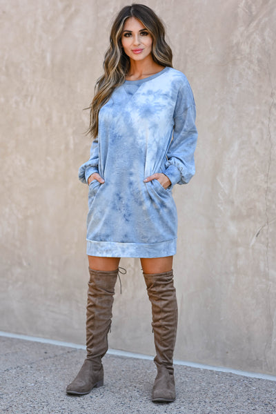 Head In The Clouds Sweatshirt Dress - Blue  women's trendy long sleeve sweatshirt with round neckline closet candy front 2