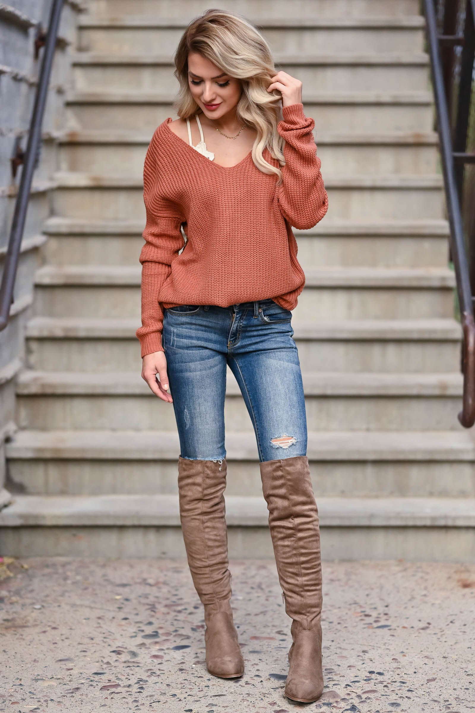 Walk On Over Knee High Boots - Taupe