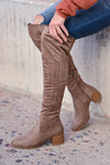 Walk On Over Knee High Boots - Taupe womens trendy over the knee boots with chunky block heel and inside zipper closet candy side