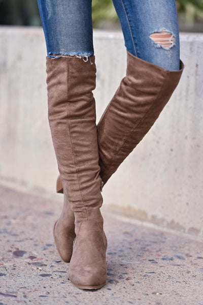 Walk On Over Knee High Boots - Taupe womens trendy over the knee boots with chunky block heel and inside zipper closet candy front