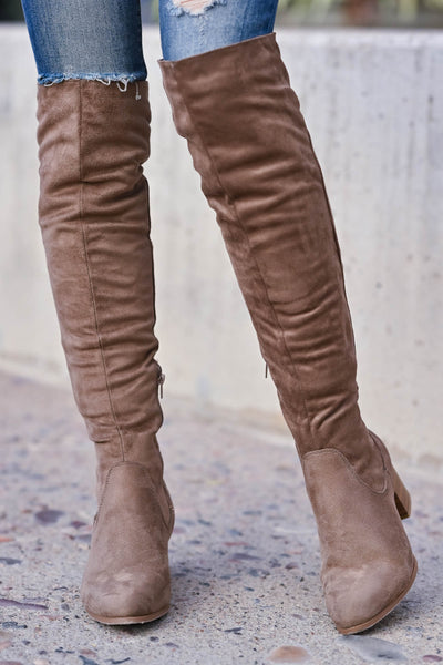 Walk On Over Knee High Boots - Taupe womens trendy over the knee boots with chunky block heel and inside zipper closet candy front 2