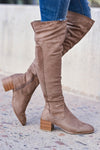 Walk On Over Knee High Boots - Taupe womens trendy over the knee boots with chunky block heel and inside zipper closet candy side 2