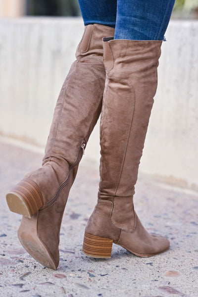 Walk On Over Knee High Boots - Taupe womens trendy over the knee boots with chunky block heel and inside zipper closet candy back
