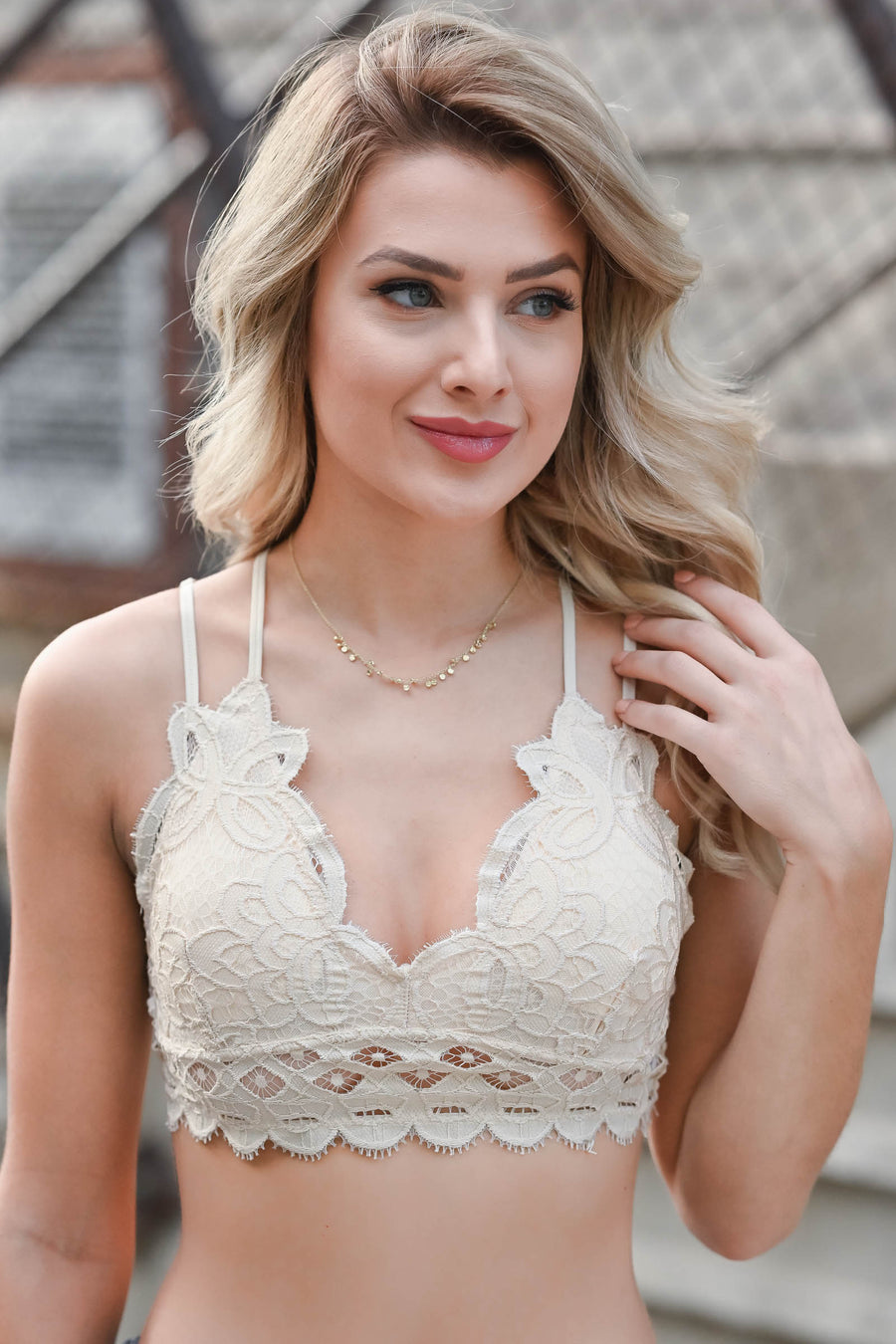 Day Dreamer Bralette - Natural womens trendy padded lace bralette closet candy back