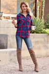 By The Fire Flannel Top - Navy womens trendy plaid long sleeve with hood closet candy front