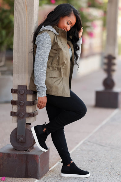 When I'm With You Hooded Jacket - cute olive contrast zip up jacket with hood, side, Closet Candy Boutique  Tiffany Side