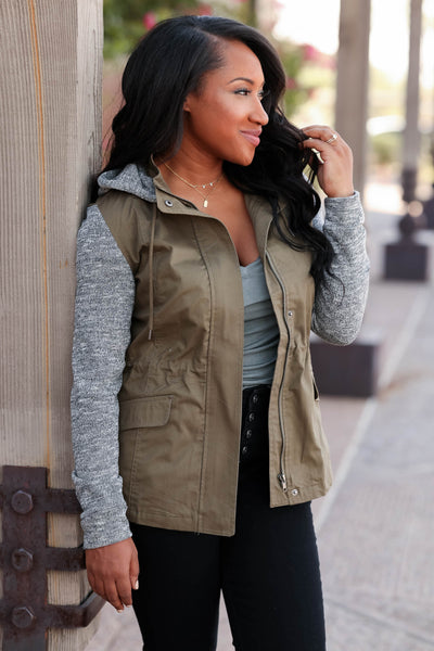 When I'm With You Hooded Jacket - cute olive contrast zip up jacket with hood, side, Closet Candy Boutique  Tiffany Front