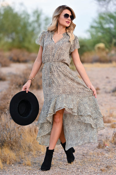 LOVE STITCH Fond Memories Maxi Dress - Natural womens trendy high lo maxi dress with a smocked waist closet candy front 2