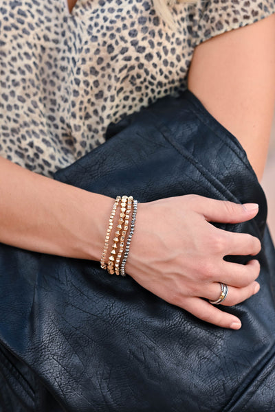 Perfect Time Bracelets - Gold & Gunmetal trendy womens beaded bracelets closet candy front 2