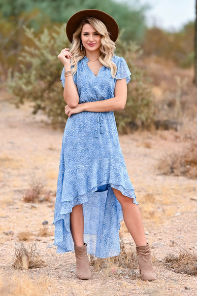 LOVE STITCH Fond Memories Maxi Dress - Blue womens trendy womens maxi dress with elastic waist band closet candy front 2