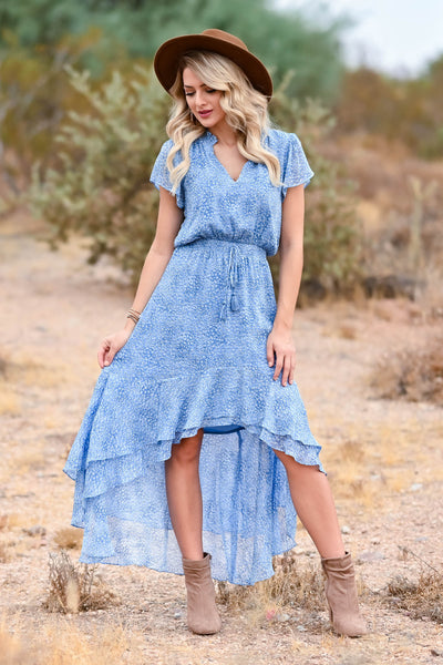 LOVE STITCH Fond Memories Maxi Dress - Blue womens trendy womens maxi dress with elastic waist band closet candy front