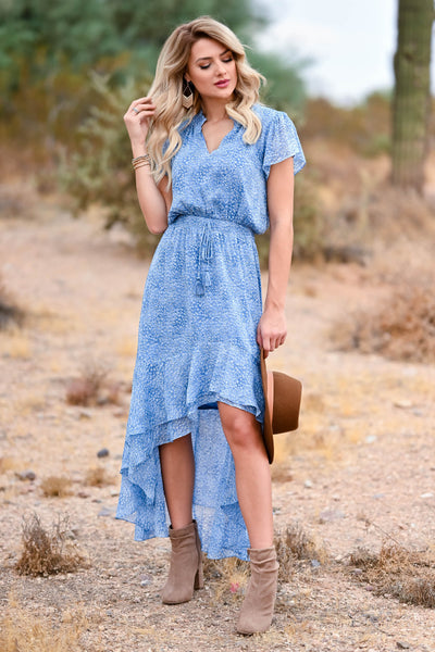 LOVE STITCH Fond Memories Maxi Dress - Blue womens trendy womens maxi dress with elastic waist band closet candy front 3