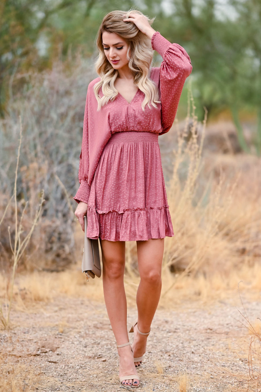 LOVE STITCH Starry Night Mini Dress - Dusty Rose womens woven mini dress smocked cuffs and waistband, ruffle trim and open back closet candy close up