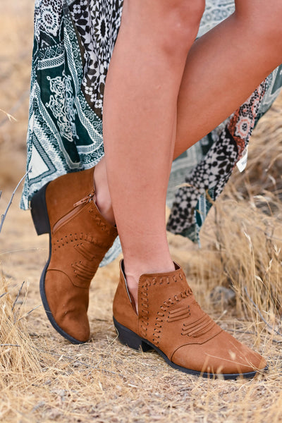 Split Decision Booties - Chestnut womens trendy vegan suede sucked heel booties closet candy side 2