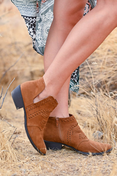 Split Decision Booties - Chestnut womens trendy vegan suede sucked heel booties closet candy side