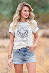 """Get Em Tiger"" Graphic Tee - Natural womens trendy round neckline graphic tee closet candy close up"