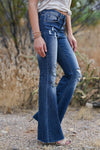 Chloe Distressed Raw Hem Flare Jeans - Dark Wash womens trendy distressed flare jeans closet candy side