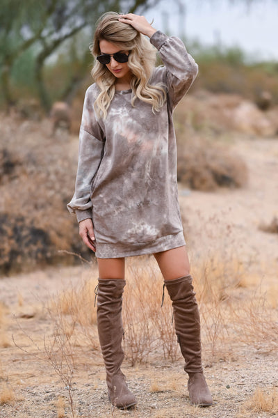 Head In The Clouds Sweatshirt Dress - Mocha womens trendy sweatshirt dress round neckline closet candy front 3