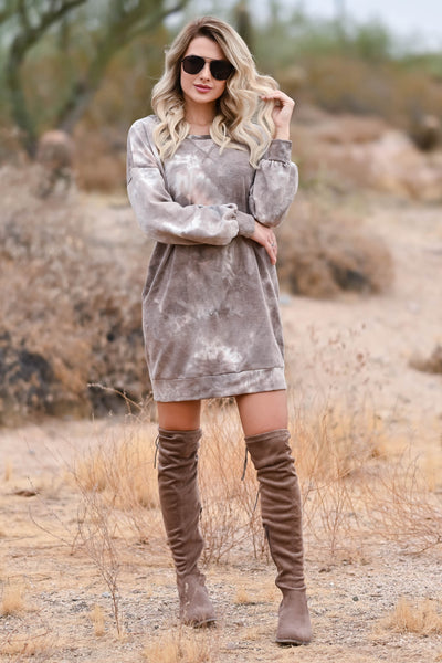 Head In The Clouds Sweatshirt Dress - Mocha womens trendy sweatshirt dress round neckline closet candy front 2