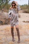Head In The Clouds Sweatshirt Dress - Mocha womens trendy sweatshirt dress round neckline closet candy front