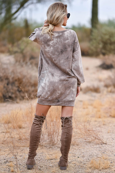 Head In The Clouds Sweatshirt Dress - Mocha womens trendy sweatshirt dress round neckline closet candy back